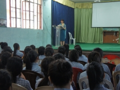 Easterine Kire interacting with Class 11 Students